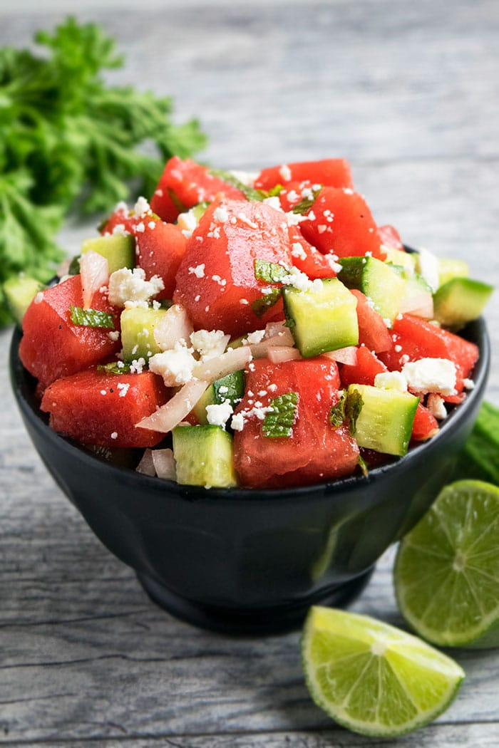 Watermelon Salad Recipe With Feta Cheese, Mint, Cucumbers, Onions