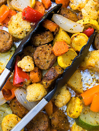 One Pan Oven Roasted Sausage and Vegetables Recipe