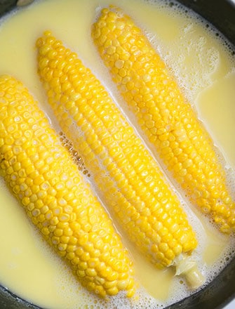 One Pot Boiled Corn on The Cob Recipe With Milk and Butter