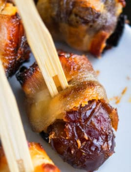 Easy Bacon Wrapped Dates Stuffed With Goat Cheese