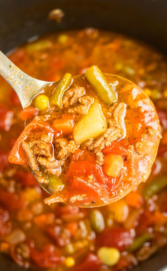 Easy Ground Beef Vegetable Soup (One Pot Recipe)