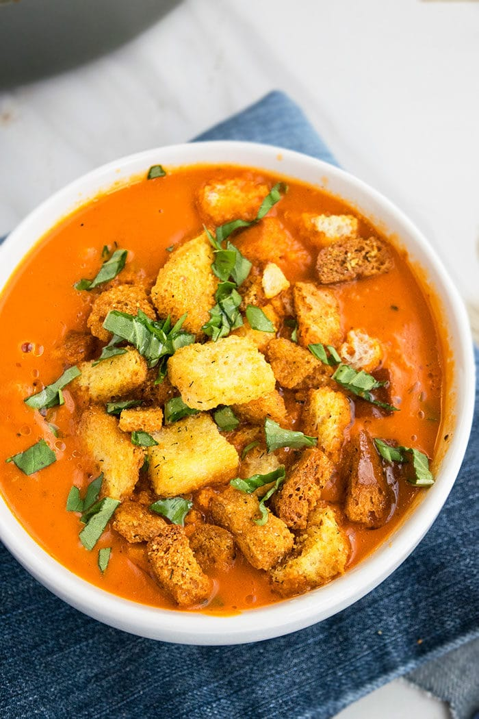 Creamy Roasted Red Pepper Soup Recipe (One Pot Meal)