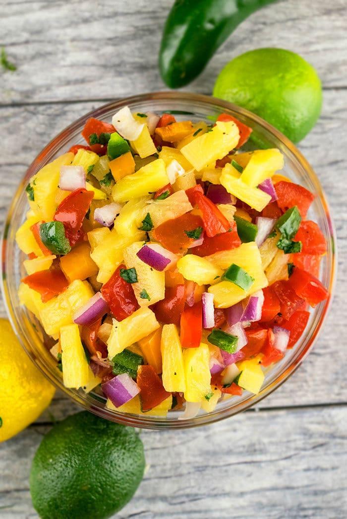 Homemade Pineapple Salsa For Chicken, Salmon, Pork