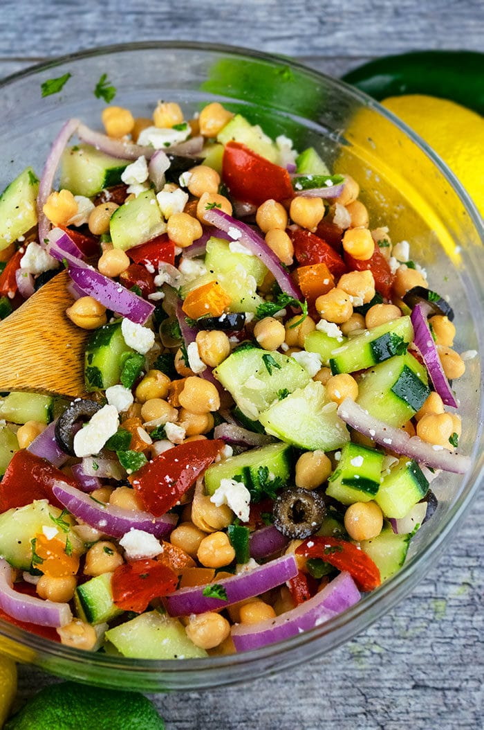 Best Chickpea Salad with Veggies and Feta Cheese