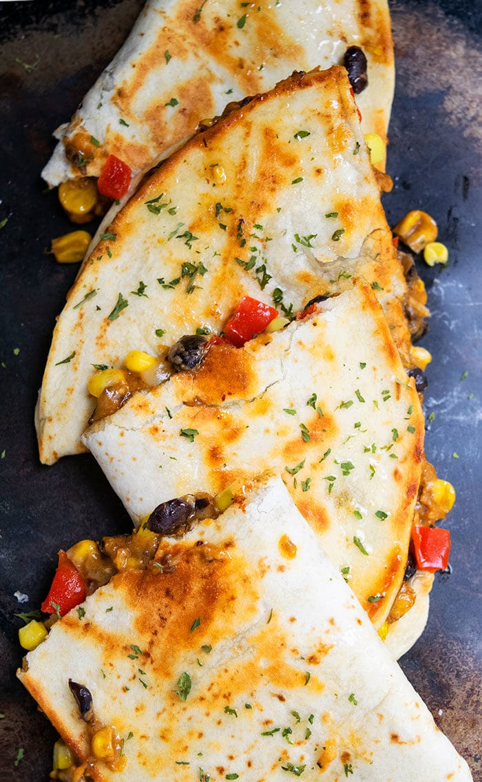 Veggie Quesadilla with Beans and Cheese