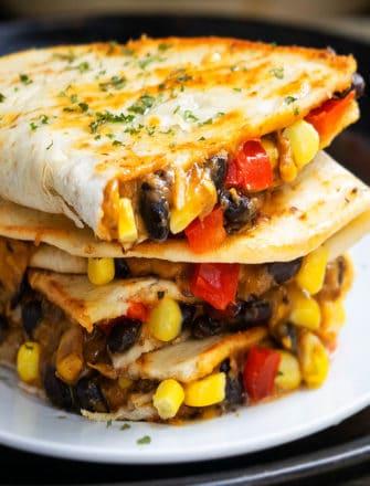 Easy Vegetarian Quesadilla Recipe (One Pan Meal)