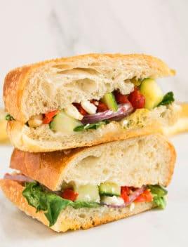 Easy Mediterranean Vegetable Sandwich