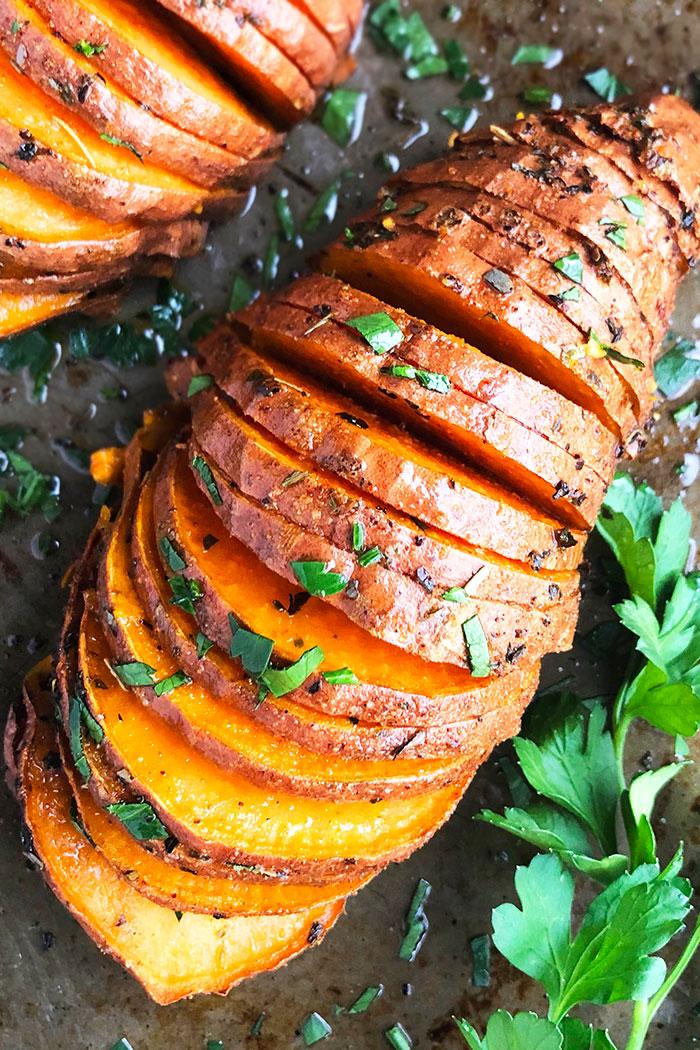Hasselback Sweet Potatoes One Pan One Pot Recipes