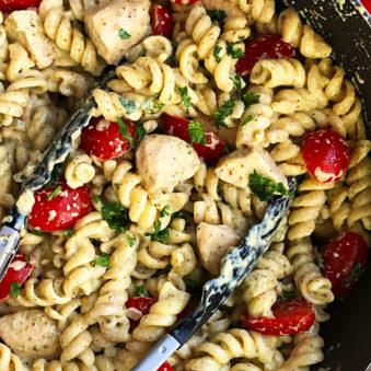 Easy Creamy Chicken Pesto Pasta Recipe