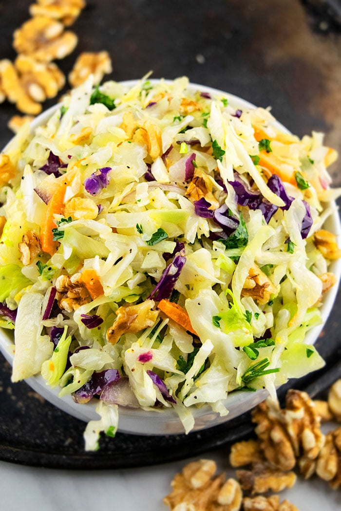 Healthy No Mayo Coleslaw with Apple Cider Vinegar Dressing