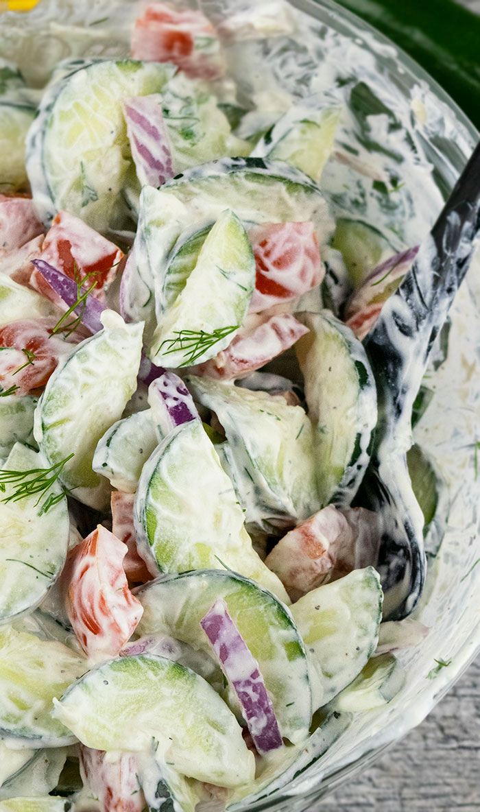 Creamy Cucumber Tomato and Onion Salad