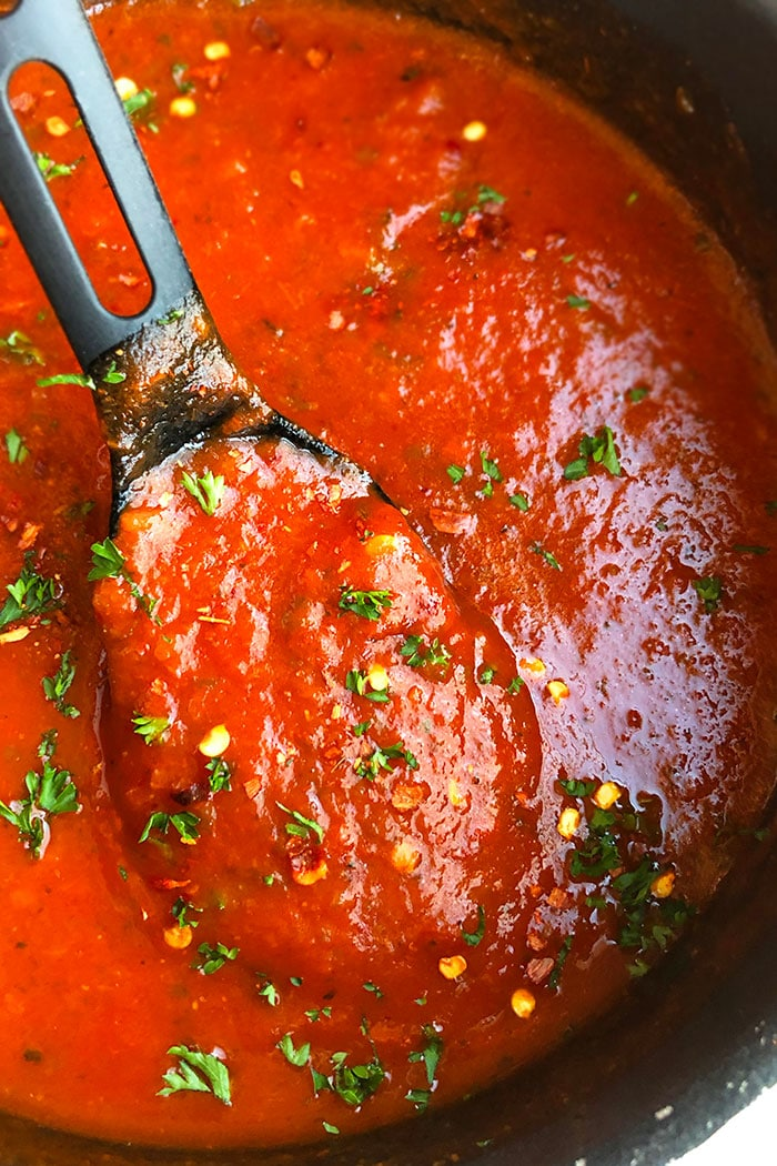 Closeup of Spoonful of Homemade Arrabbiata Sauce
