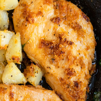Easy Chicken and Potatoes- Closeup in Black Pan