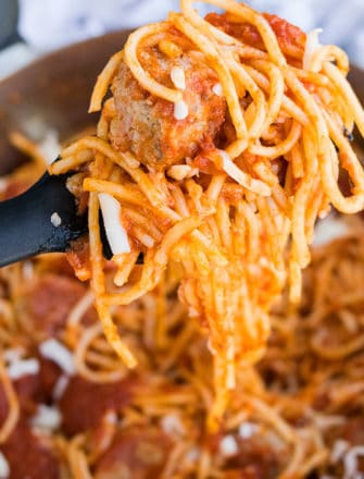 Closeup of Homemade Spaghetti and Meatballs on Fork