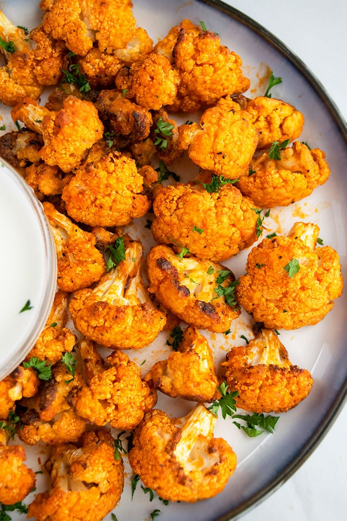 Oven Baked Buffalo Cauliflower Wings Recipe on Plate
