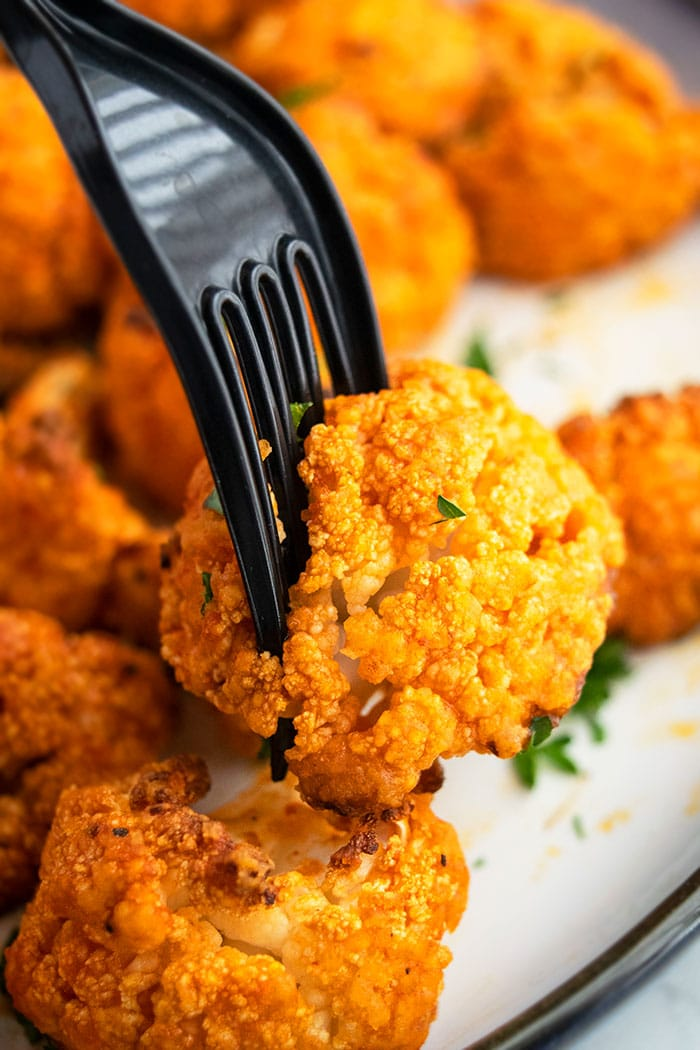 Vegetarian Crispy Cauliflower Hot Wings on a Fork