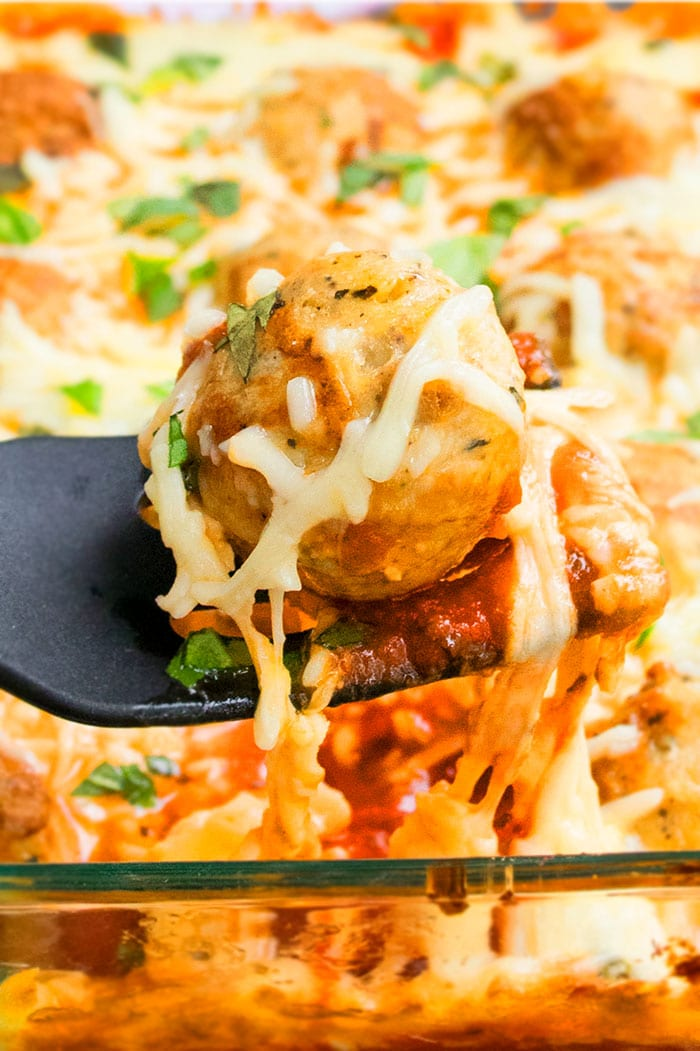 Cheese Pull Shot of Meatball Parmesan