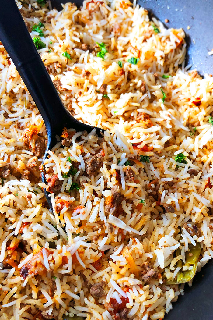 Cajun Dirty Rice in Black Nonstick Pot