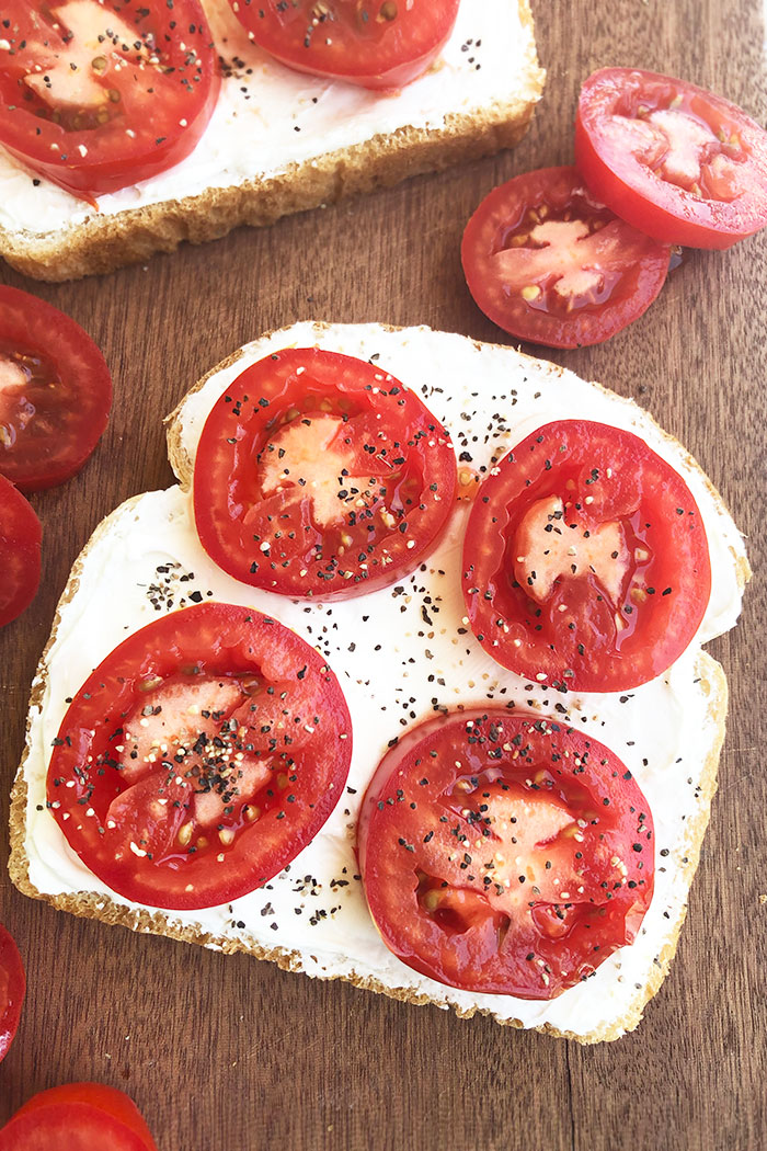 Open Faced Mayo and Tomatoes in Sandwich