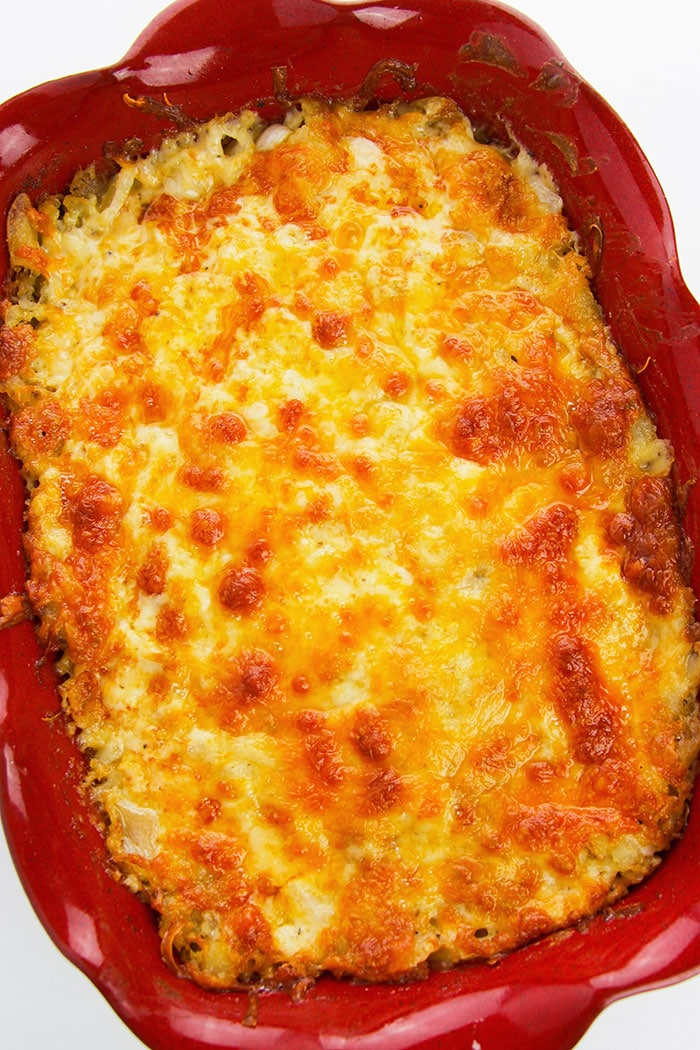 Overhead Shot of Easy Homemade Hashbrown Casserole
