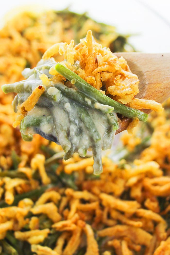 Spoonful of Creamy Green Bean Casserole- Closeup Shot