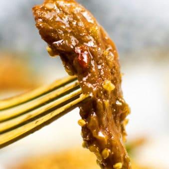 Best Mongolian Beef on Gold Fork - Closeup Shot