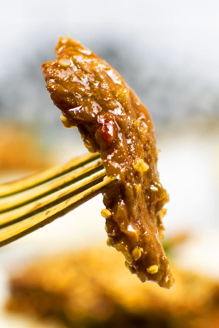 Closeup Shot of Fork with Mongolian Beef