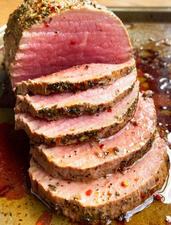 Easy Homemade Italian Roast Beef (Medium Doneness) that's Partially Sliced