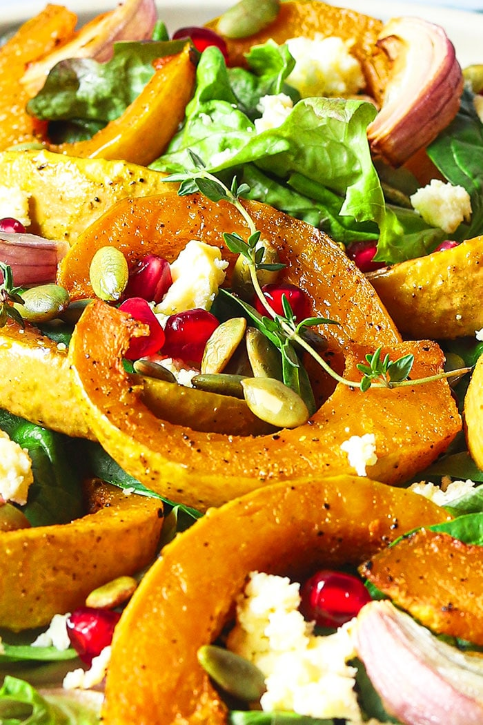 Closeup Shot of Roasted Pumpkin Feta Salad