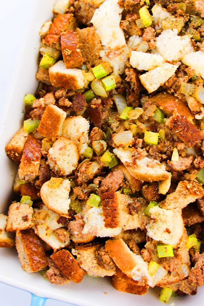 Easy Sausage Stuffing in White Casserole Dish- Overhead Shot