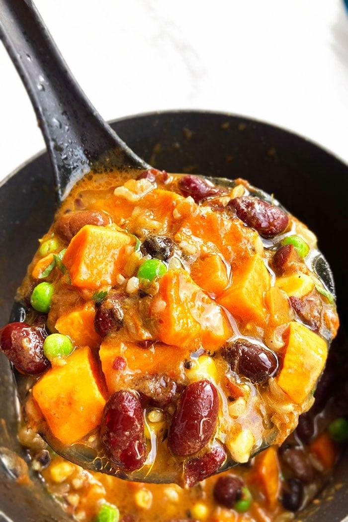 Spoonful of the Best Vegetarian Sweet Potato Chili- Closeup Shot