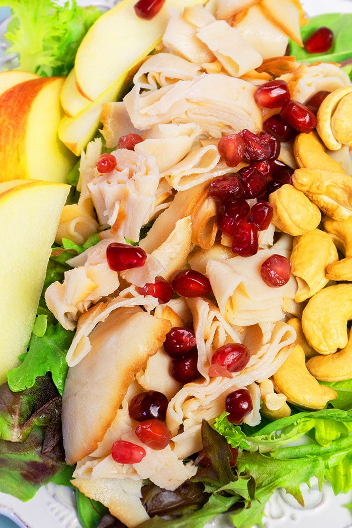 Closeup Shot of Fall Harvest Salad with Turkey, Pomegranate seeds, Nuts, Apples and Orange Vinaigrette