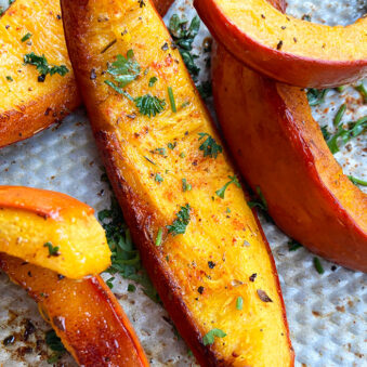Easy Homemade Roasted Pumpkin Wedges on Silver Baking Tray