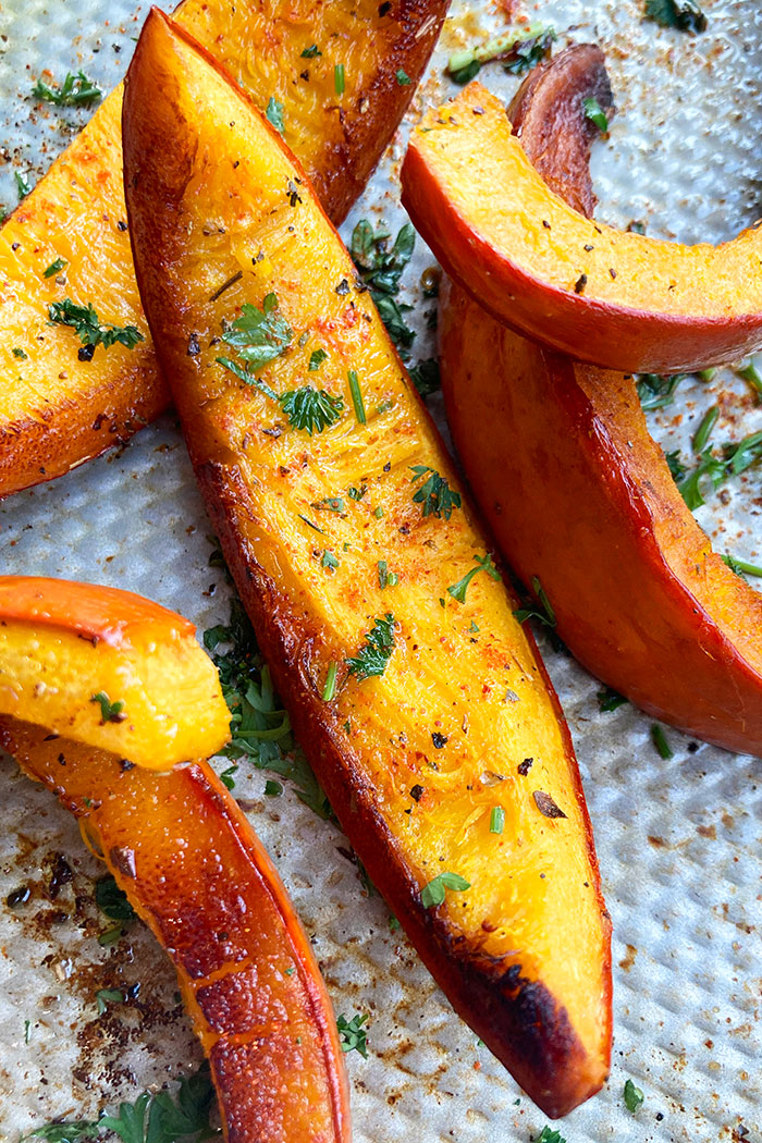 Easy Roasted Pumpkin Wedges with Italian Herbs in Baking Tray