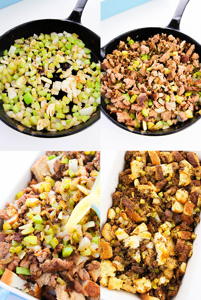 How to Make Homemade Sausage Stuffing- Step By Process Shot Collage