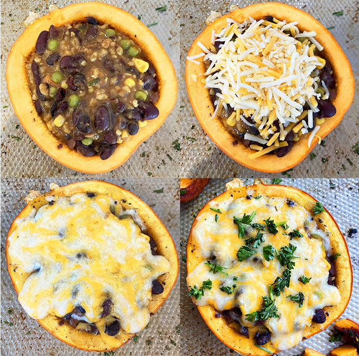 Collage with Step by Step Process Shots for How to Make Roasted Stuffed Pumpkin
