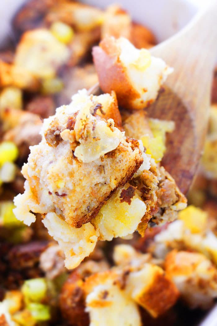 Closeup Shot of Bread Stuffing with Sausage