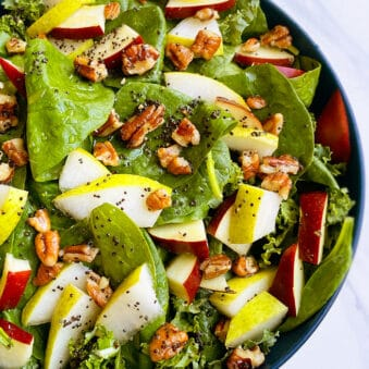 Easy Homemade Thanksgiving Salad in Blue Bowl on White Background
