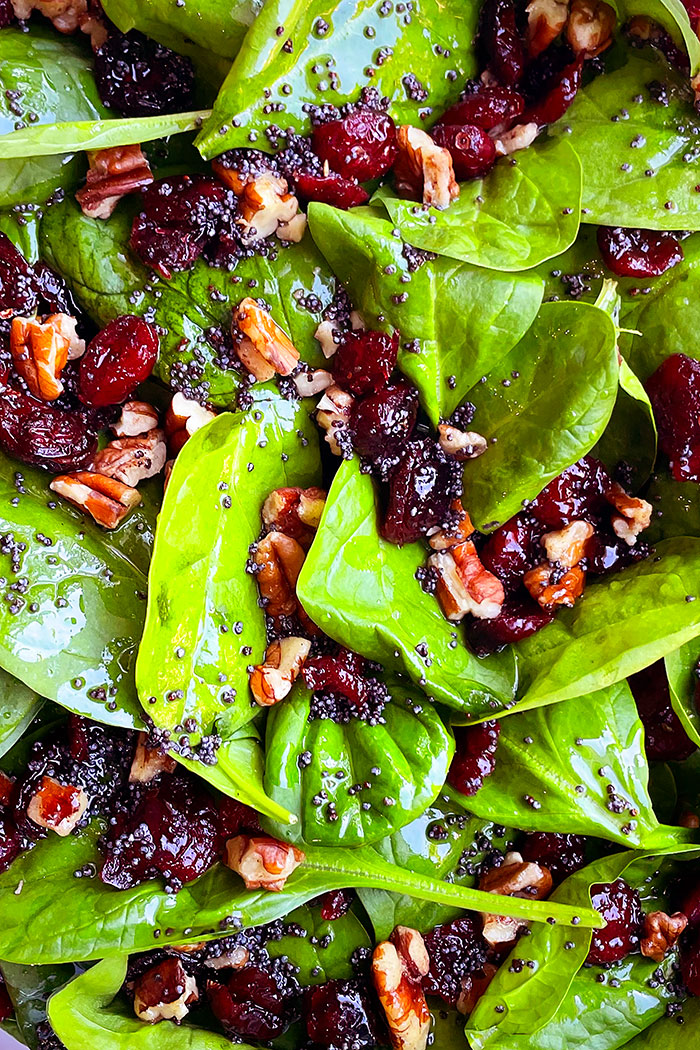 Closeup Shot of Christmas Salad with Pecans and Cranberries