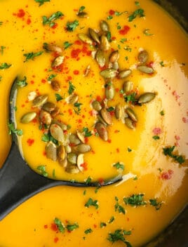 Easy Homemade Butternut Squash Soup in Black Pot