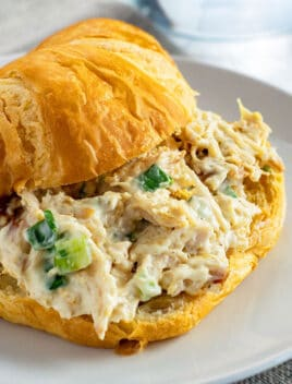 Easy Homemade Leftover Turkey Salad Sandwich on White Plate