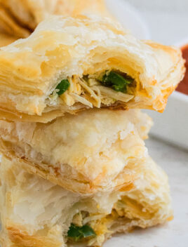 Stack of Chicken Puff Pastry on White Table