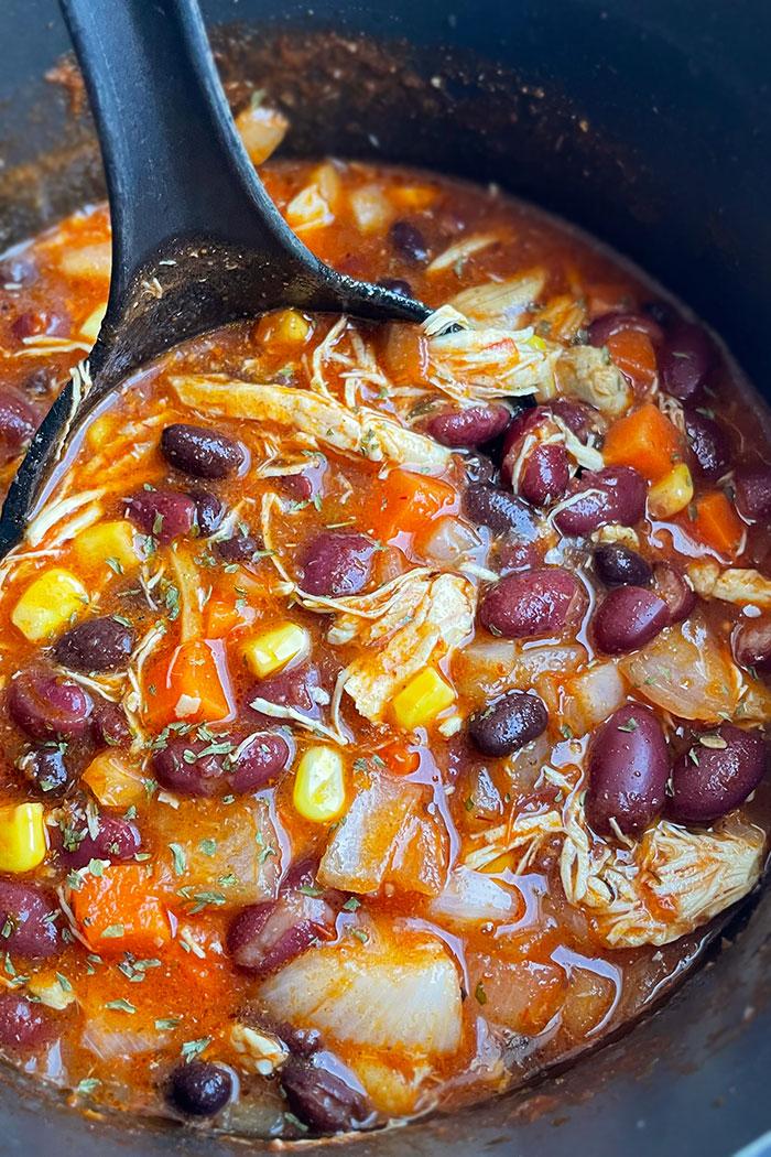 Easy Homemade Chicken Taco Soup in Black Nonstick Pot