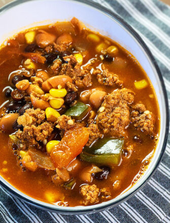 Homemade Instant Pot Taco Soup Served in White Bowl