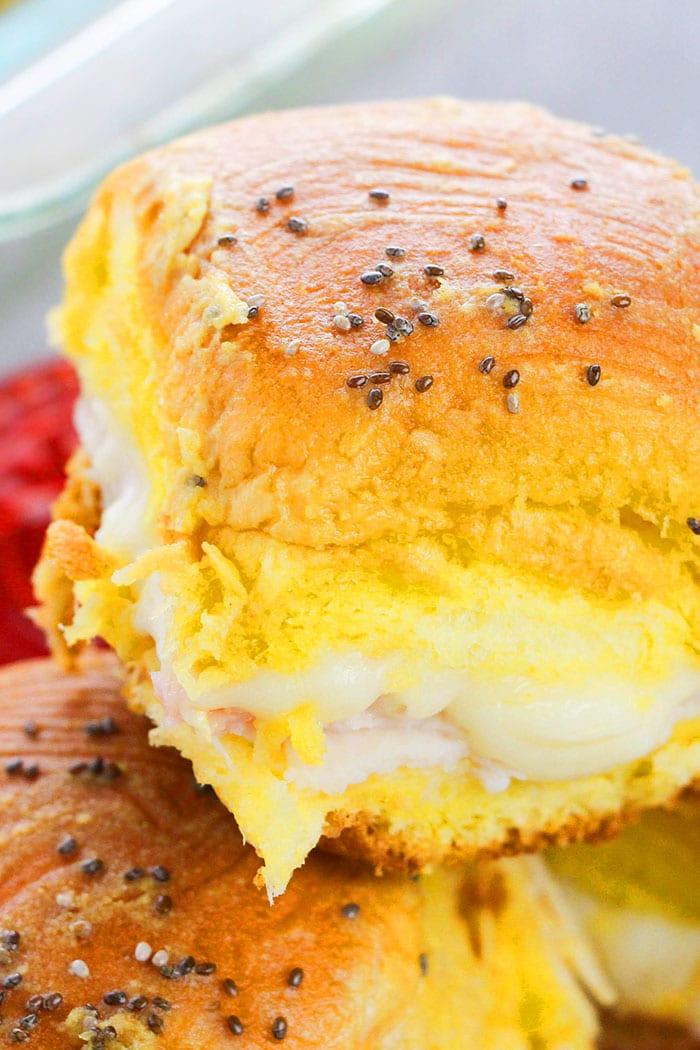 Closeup Shot of Hawaiian Ham and Swiss Sliders