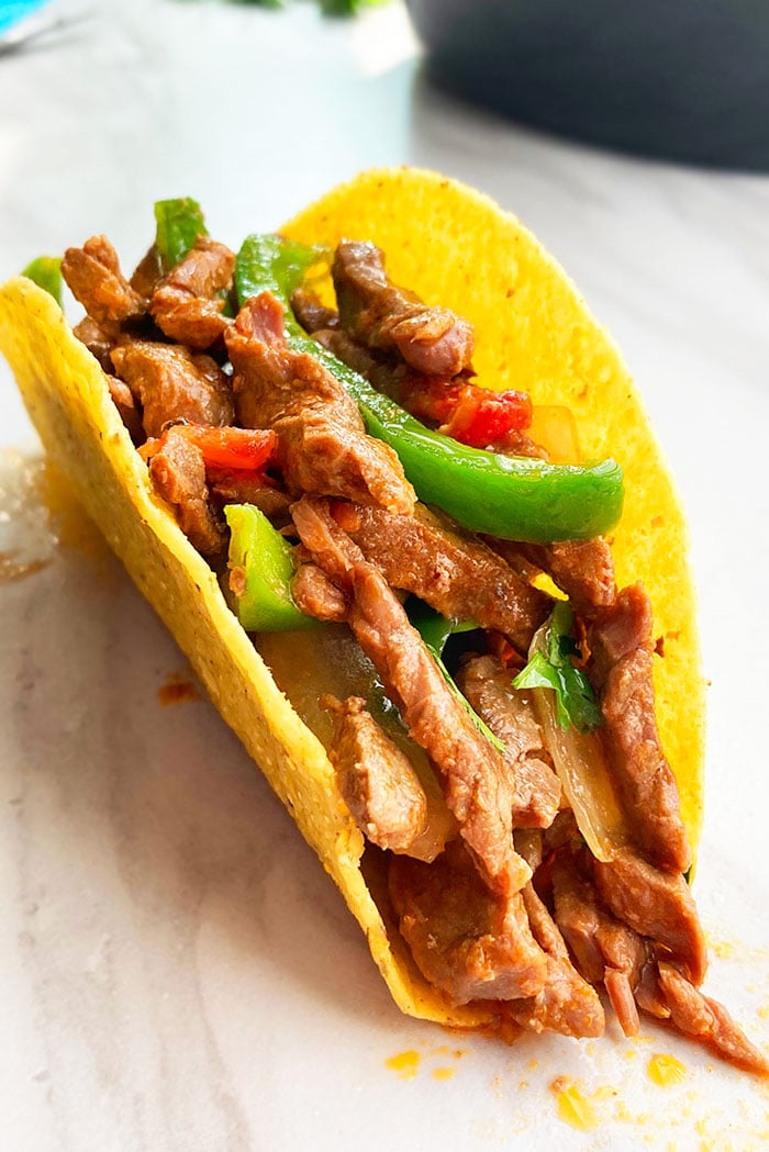 Easy Homemade Street Tacos with Flank Steak on White Background