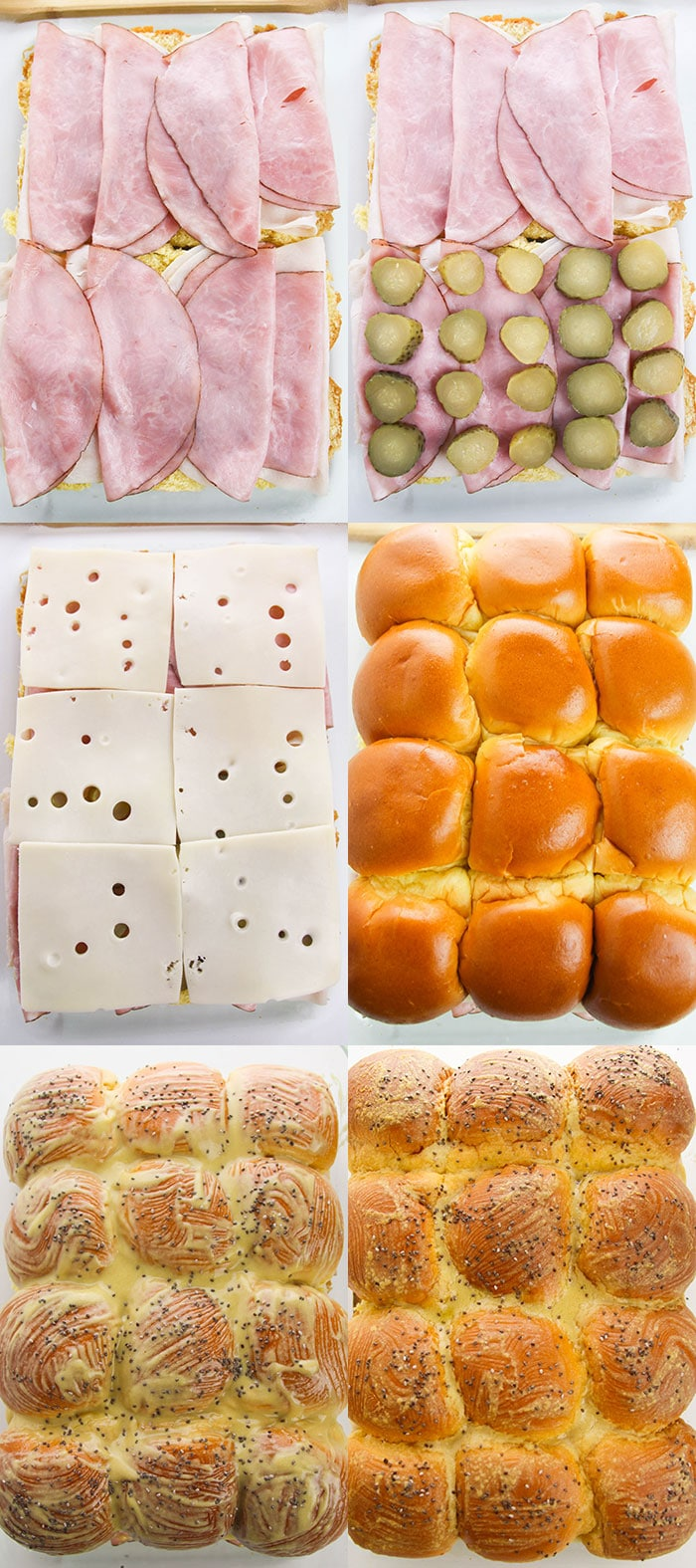 Collage Image With Step by Step Pictures on How to Make Ham and Cheese Sliders