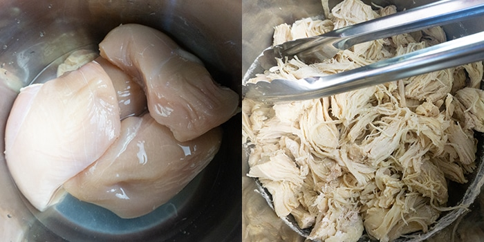 Collage Image With Step by Step Pictures on How to Make Shredded Chicken