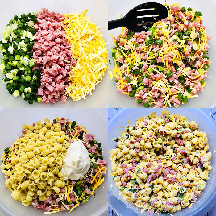 Collage Image of Process Shots for Making Pasta Salad with Ham and Mayo Dressing