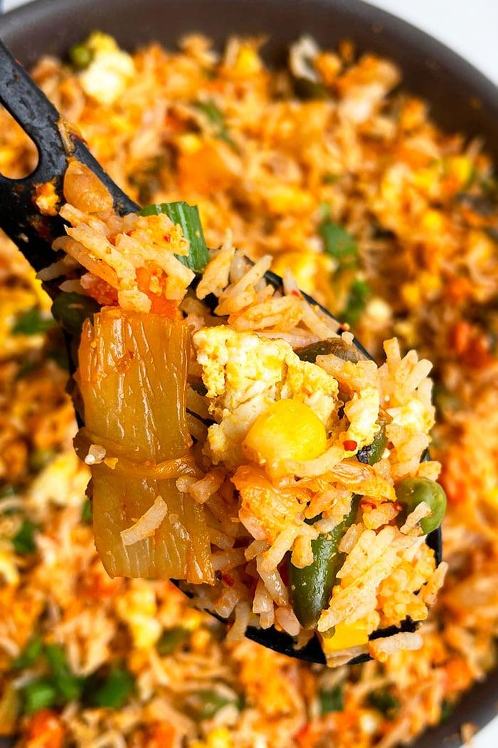 Spoonful of Vegetarian Kimchi Bokkeumbap- Closeup Shot
